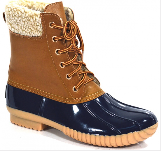 Lace-up Navy Blue Duck Boots