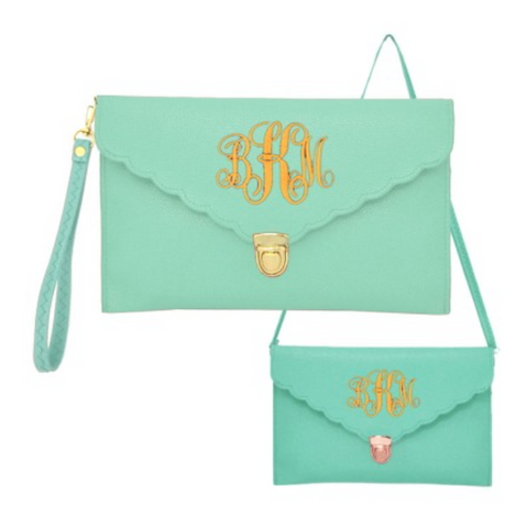 Mint Scalloped Monogram Purse w/Clutch Strap