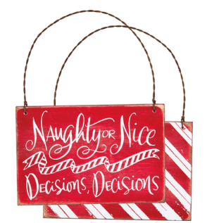 Naughty or Nice Chalk Ornament