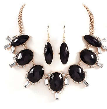 Black and Emerald Cut Rhinestone Statement Necklace Set