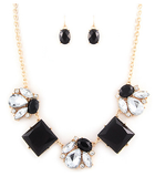 Black and Crystal Statement Necklace Set