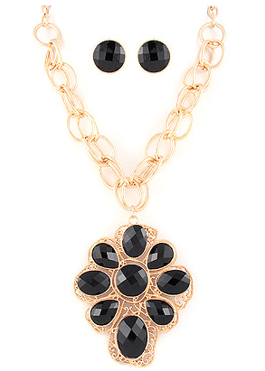 Black Pendant Statement Necklace Set