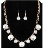 Circle Faceted Rhinestone Statement Necklace Set