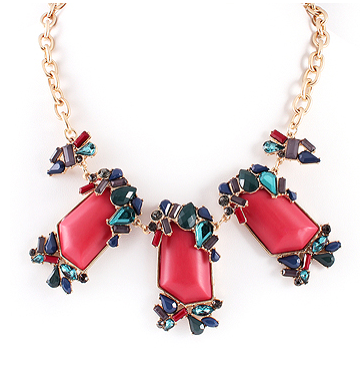 Red, Black, and Teal Multi Statement Necklace