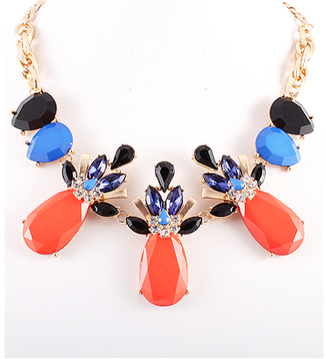 Blue, Orange, and Black Multi Statement Necklace
