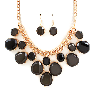 Black Oval Statement Necklace Set