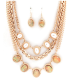 Pearl and Opal 3-Layer Statement Necklace Set