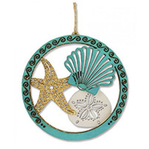 Glitter Seashells Wood Ornament