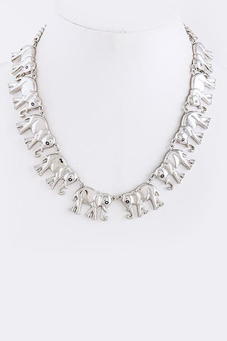 Silver Elephant Marching Necklace
