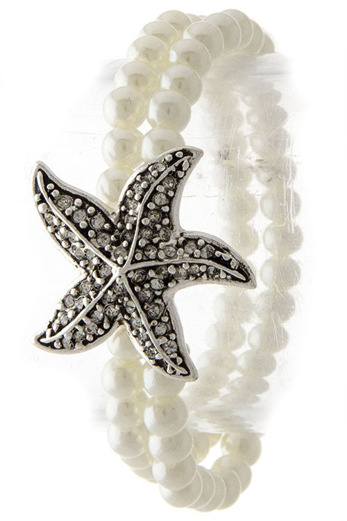 Silver Antique Starfish and Pearl Bracelet