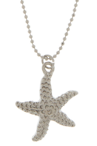 Silver Textured Starfish Necklace