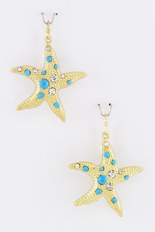 Gold and Teal Starfish Earrings w/CZ