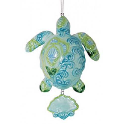 Paisley Turtle Ceramic Ornament