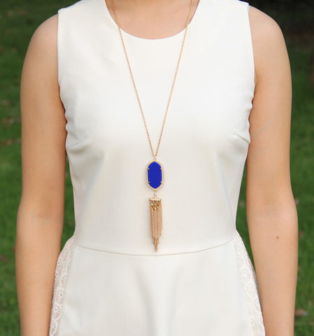 Long Tassel Inspired Necklace - Dark Blue