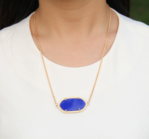 Single Stone Inspired Necklace - Dark Blue