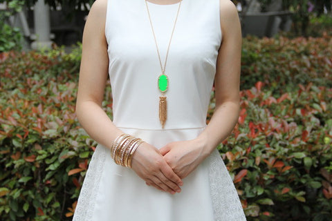 Long Tassel Inspired Necklace - Green