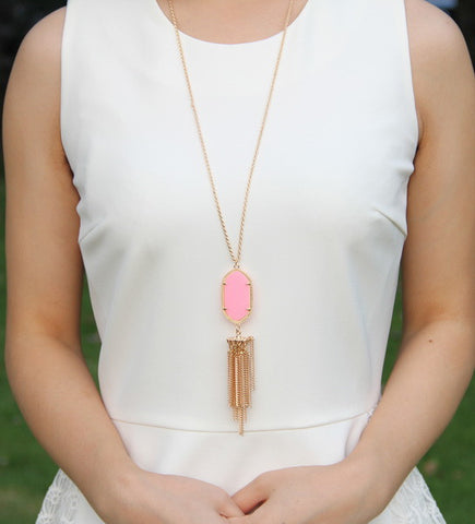 Long Tassel Inspired Necklace - Pink