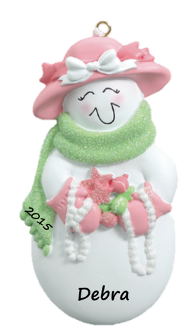 Pink and Green Sweet Snowlady Ornament
