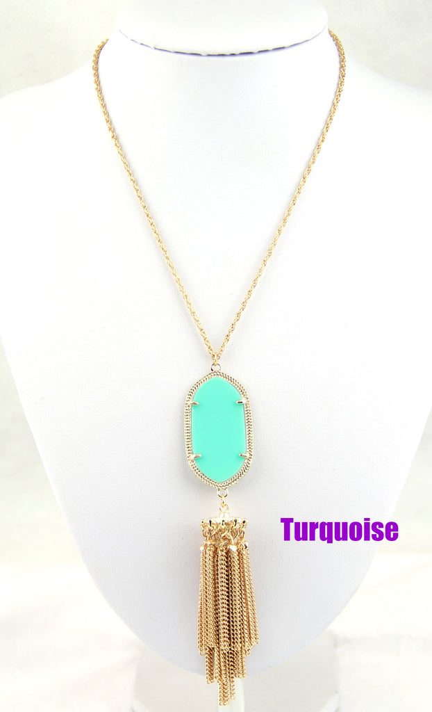 Long Tassel Inspired Necklace - Turquoise
