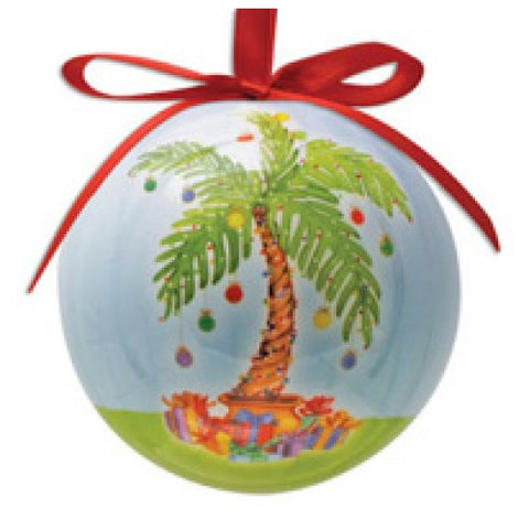 Palm Tree with Lights Hanging Ball Ornament