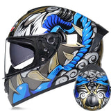 Grey Blue D.O.T Motorcycle Helmets