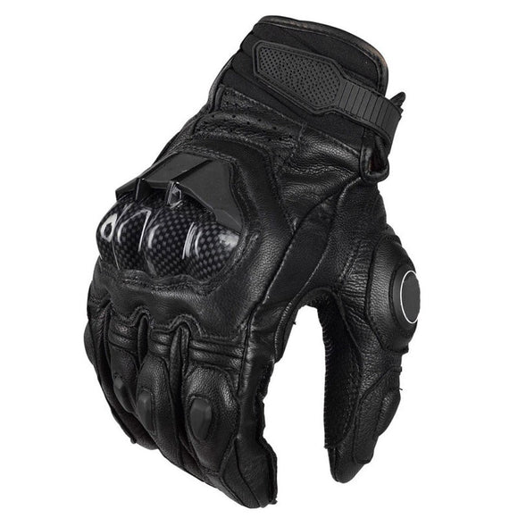 WLT Black Leather Motorcycle Gloves