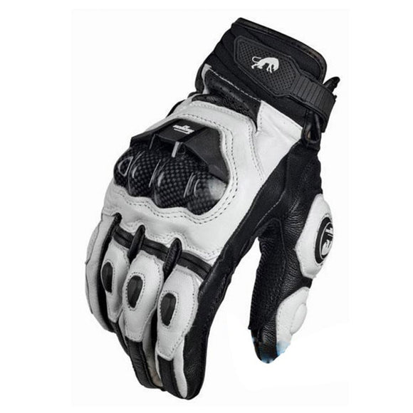 WLT White Leather Motorcycle Gloves