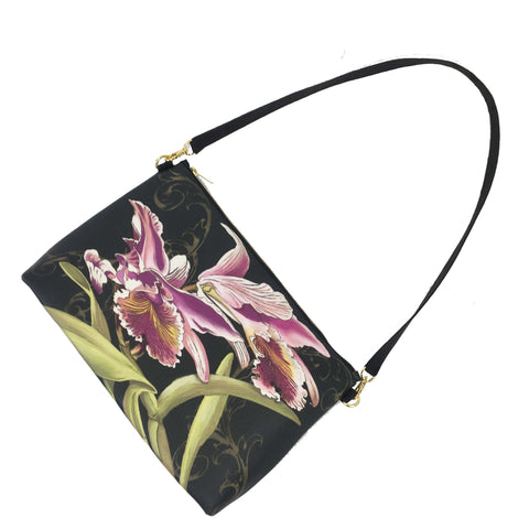 Orchids on Black Zip Top Shoulder Bag - Vegan Leather/ Suede