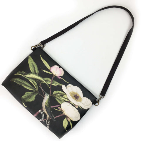 White Peonies and Hummingbird Zip Top Shoulder Bag - Vegan Leather/ Suede