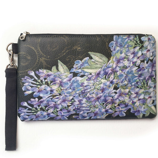 Lilacs on Black Wristlet - vegan leather/suede - UndertheLeafDesigns.com