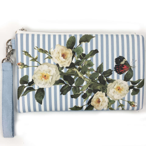 Blue and White Stripe White Rose vegan leather and vegan suede clutch/wristlet