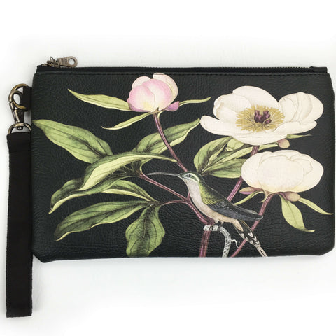 Hummingbird and White Peonies on black wristlet - vegan leather/suede - UndertheLeafDesigns.com