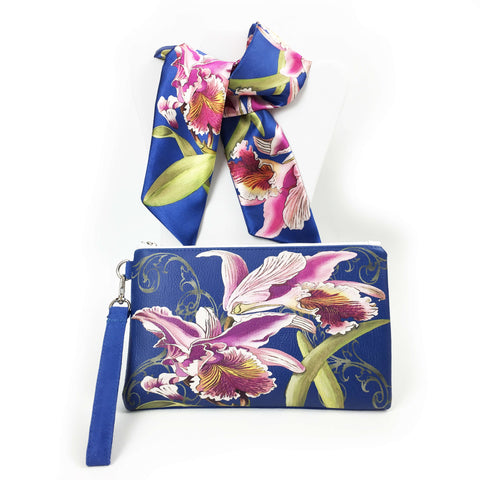 2 Piece Gift Set Vegan Leather Clutch and Scarf - Orchid on Lapis Blue - UndertheLeafDesigns.com
