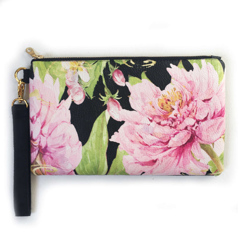 Magenta Watercolor Peony Wristlet - vegan leather/suede - UndertheLeafDesigns.com