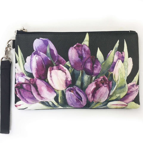 Purple watercolor tulips on black wristlet - vegan leather/suede - UndertheLeafDesigns.com