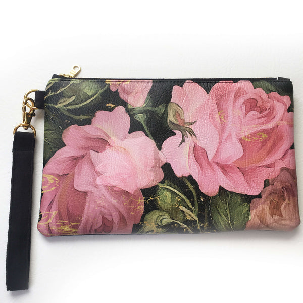 Scroll Rose Wristlet - vegan leather/suede