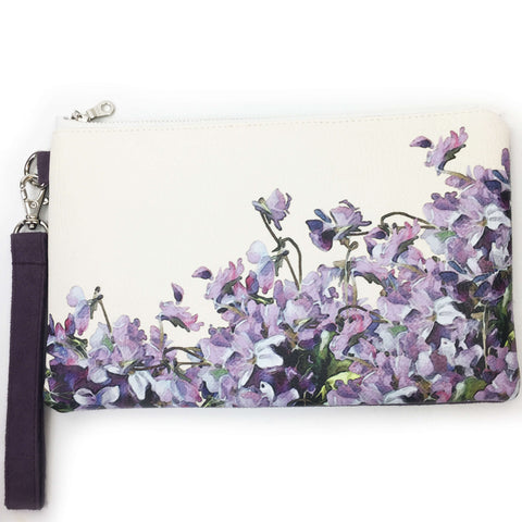 Violets Wristlet - vegan leather/suede - UndertheLeafDesigns.com