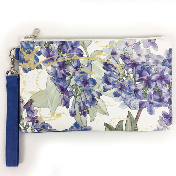 Lilacs on White Wristlet - VeganLeather/Suede - UndertheLeafDesigns.com
