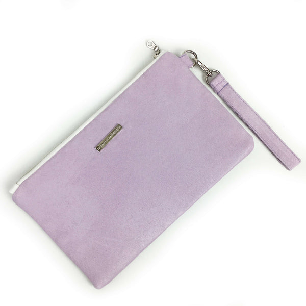 Wisteria lavender stripe wristlet - vegan leather/suede - UndertheLeafDesigns.com