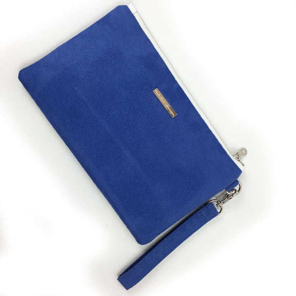 Orchid on Blue Lapis wristlet - vegan leather/suede - UndertheLeafDesigns.com