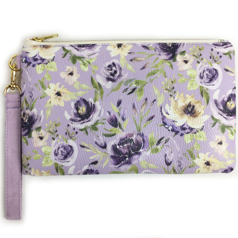 Watercolor mixed floral on lavender wristlet - vegan leather/suede - UndertheLeafDesigns.com