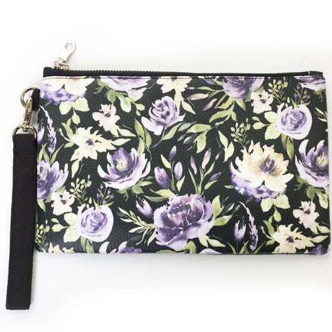 Watercolor mixed floral on black wristlet - vegan leather/suede - UndertheLeafDesigns.com