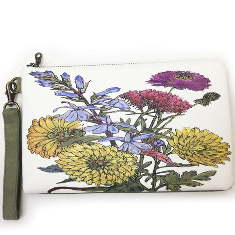 Mum Floral Wristlet - vegan leather/suede - UndertheLeafDesigns.com