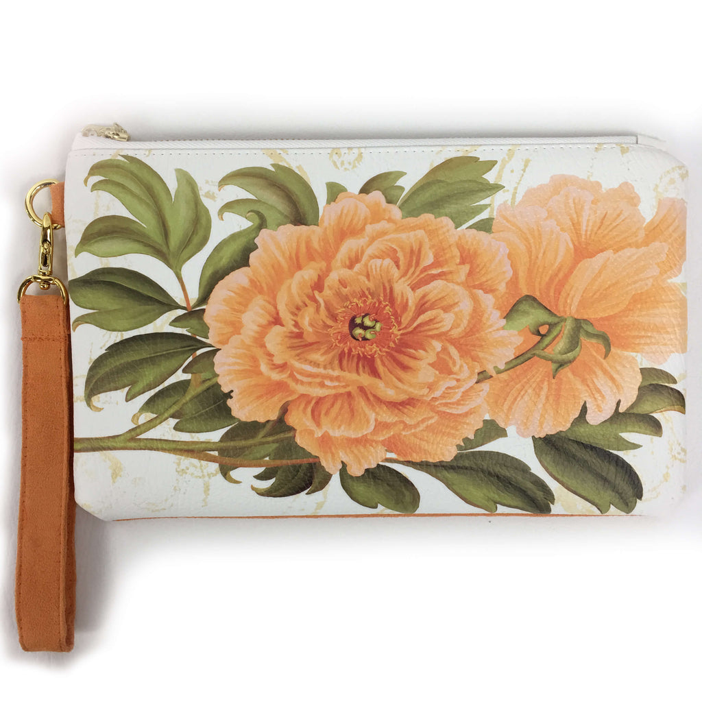 Tangerine Peonies on white wristlet - vegan leather/suede - UndertheLeafDesigns.com