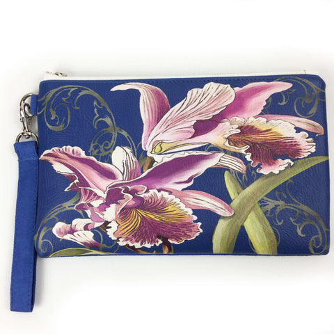 Orchid on Blue Lapis wristlet - vegan leather/suede