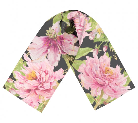 Peony Floral on Black Scarf - UndertheLeafDesigns.com