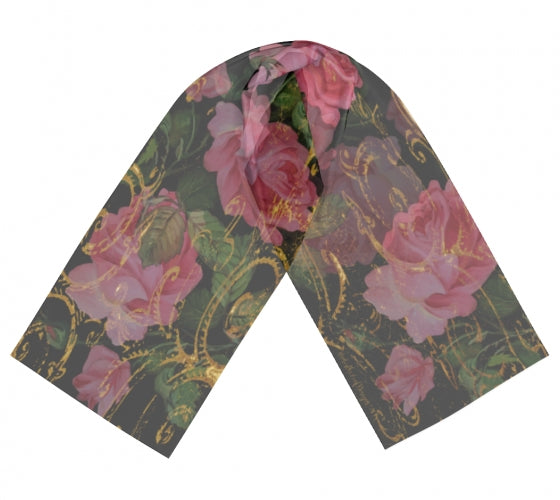 Rose Floral Chiffon Scarf - UndertheLeafDesigns.com