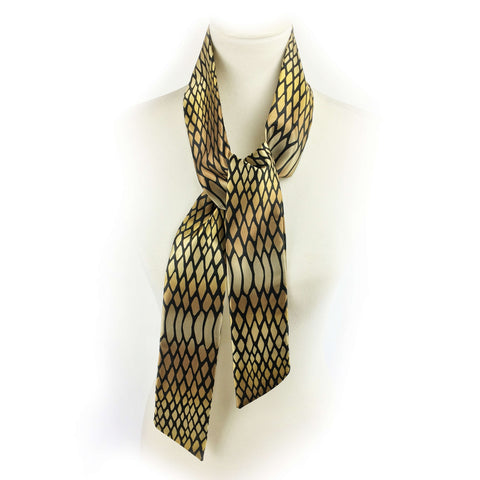 Snake print in golds and bronze skinny scarf - UndertheLeafDesigns.com