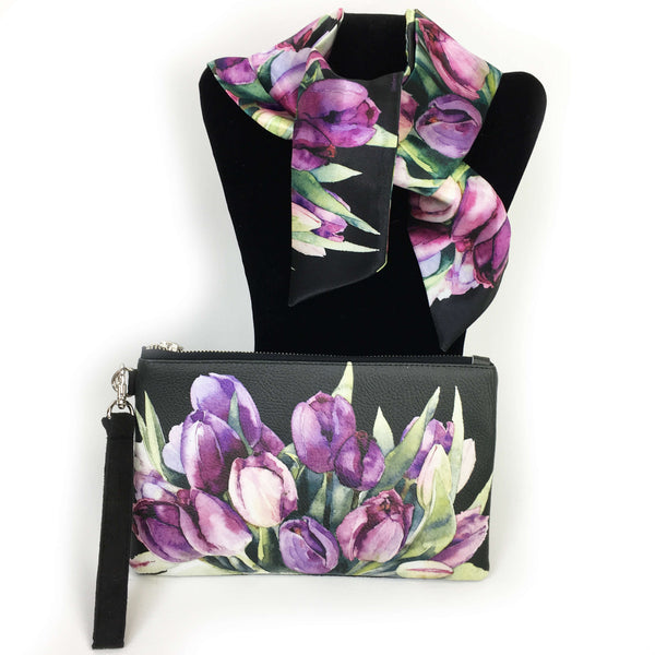 2 Piece Gift Set Vegan Leather Clutch and Scarf - Purple Watercolor Tulips on black - UndertheLeafDesigns.com