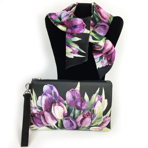 2 Piece Gift Set Vegan Leather Clutch and Scarf - Purple Watercolor Floral on black
